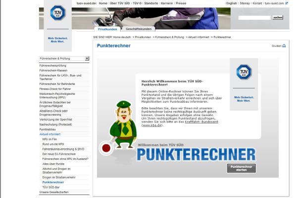 Online-Rechner gibt Auskunft über ''Flensburger Konto''