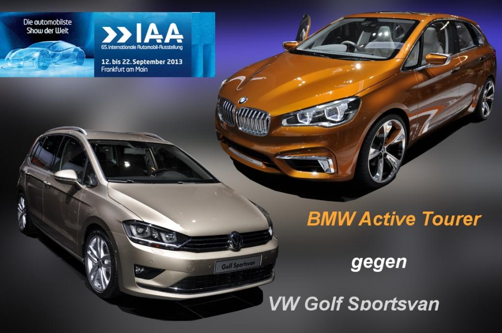 iaa 2013: bmw active tourer und vw golf sportsvan - so